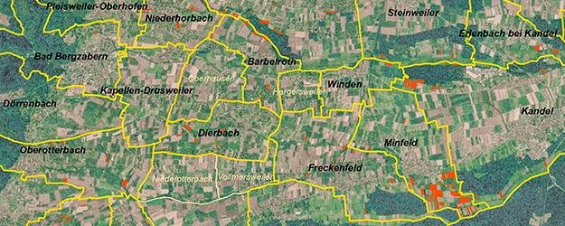 Karte mit rot eingezeichneten NVS-Gebieten
