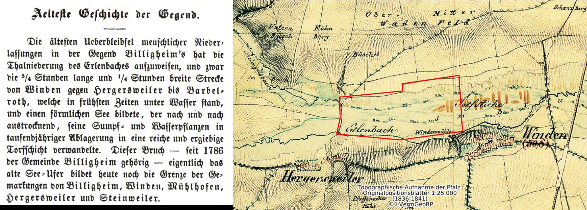 Billigheimer Bruch Bild Teil 2 Historische Karte Torfstich und Text