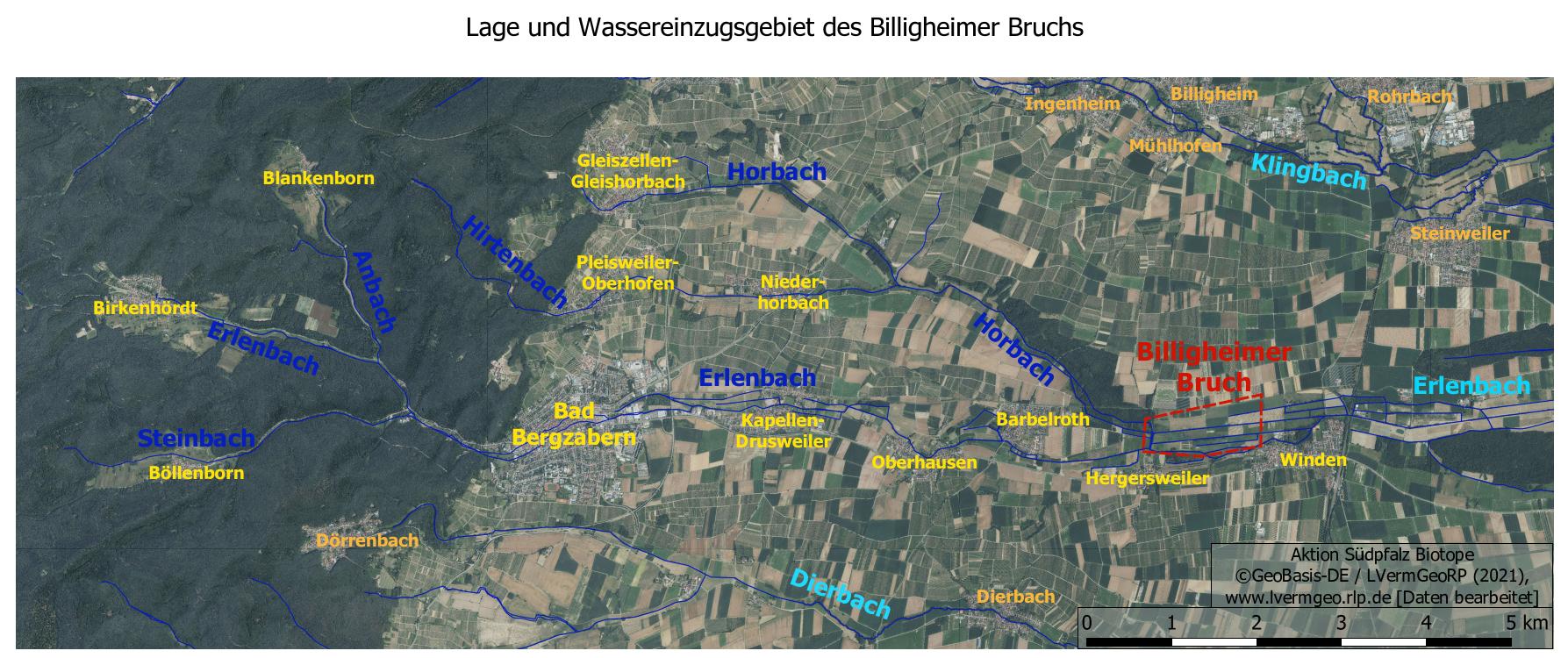 Lage und Wasserinzugsgebiet Billigheimer Bruch